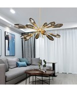 Modern Chandelier Nordic Decor Style Room Smoky Gray Glass Branch LED Li... - $1,209.00+