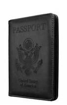 Slim cowhide Leather Travel Passport Wallet Holder RFID Blocking ID black  - $28.90