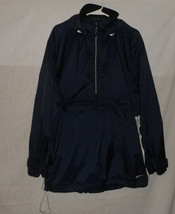 Nike Men's Navy Partial Zip Nylon Wind Jacket Vented Size Medium M Hooded - $14.84