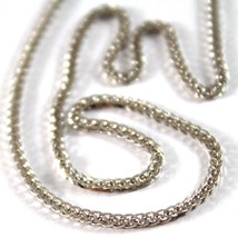 SOLID 18K WHITE GOLD CHAIN NECKLACE WITH EAR LINK 23.62 INCHES, MADE IN ITALY image 1