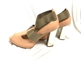 BCBG MAXAZRIA SHOES 'hollie' shiny Pumps Sandals  gold heel nude size 9/39 - $21.51