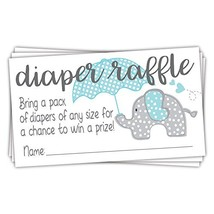 Blue Elephant Diaper Raffle Tickets 50 Count - Boy Baby Shower Game - $13.18