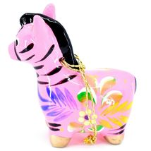 Handcrafted Painted Ceramic Pink Zebra Confetti Ornament Made in Peru image 3