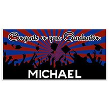 Blue And Red Graduation Banner Personalized Class of 2018 Party Backdrop - £17.34 GBP