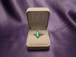 Sterling Silver Turquoise Ring Feather Detail Southwestern Vintage Size 6 - €31,68 EUR