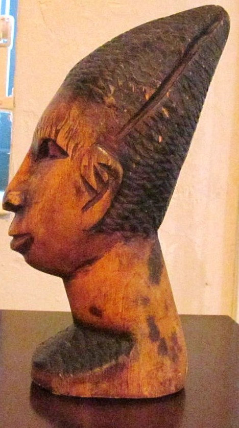 "Vintage Hand Carved African Ebony Wood ""Woman Head Bust Statue"" Sculpture Woman"