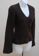 Express Sweater Small Brown Fuzzy Wool Blend Stretch V Neck Pullover Top... - $16.64