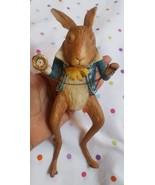 Brown Rabbit wearing blue jacket coat  pocket watch yellow now big ears figurine - $13.45