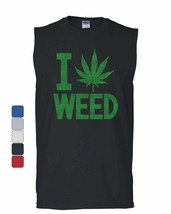 I Love Weed Muscle Shirt Smoking 420 Pot Reggae Rasta Marijuana Kush Sle... - $10.84+