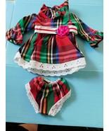 1970 IDEAL VELVET LOOK AROUND PLAID DRESS & PANTIES Crisp Factory Overst... - $21.78