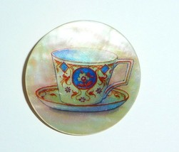 """Afternoon Tea Cup on Mother of Pearl MOP Shank Button -  1-3/8"""" Coffee Cup - $11.99"""