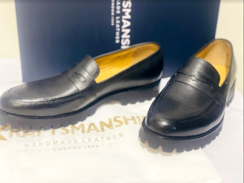 Handmade Men's Black Leather Brogues Style Slip Ons Loafer Shoes