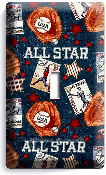 Primary image for BASEBALL VINTAGE ALL STAR SINGLE LIGHT SWITCH POWER WALL PLATE COVER ROOM DECOR