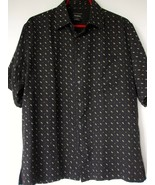 Neiman Marcus Silk Shirt Medium Black Beige Pattern Short Sleeve Button ... - $11.83