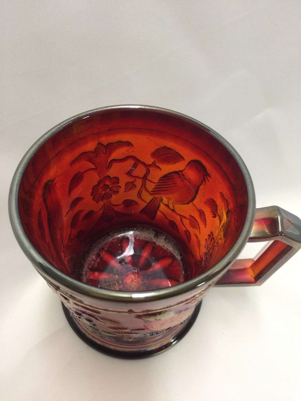 Vintage Imperial Glass Company Red Carnival Glass Robin Mug Cup 1980 IG Logo