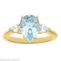 AQUAMARINE & DIAMOND ENGAGEMENT RING PEAR SHAPE 10x7mm YELLOW GOLD 1.99 ... - £1,155.88 GBP