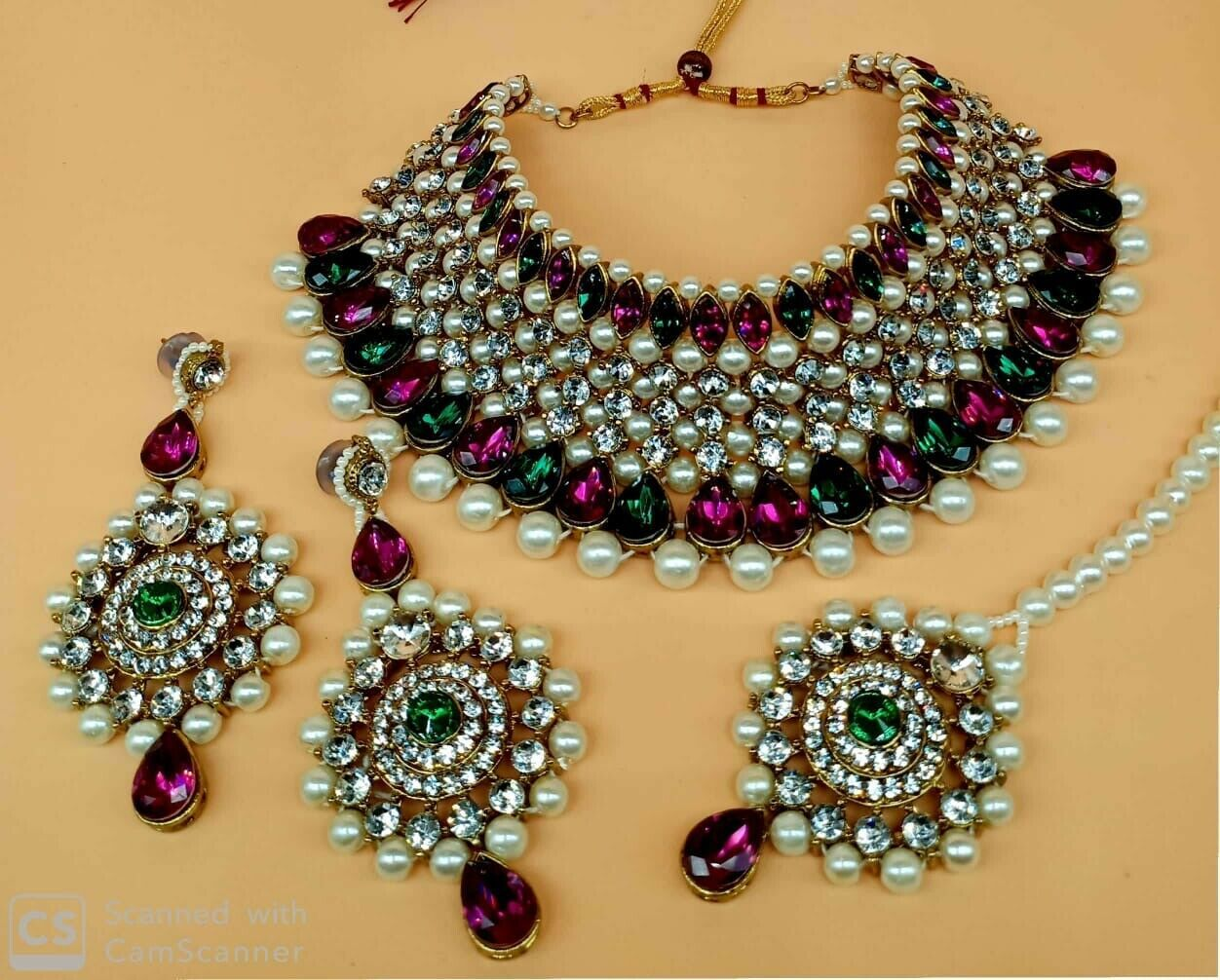 Primary image for Indian Gold Plated Kundan Pearl Necklace Earrings Tikka Bridal Costume Jewellery