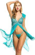 Women Sexy Lingerie  Babydoll Dress Open Front Sleepwear Set with GString Set image 11