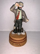"""Vintage Flambro Emmett Kelly Jr. Collection Music Box Signed 7 1/4"""" - $17.50"""