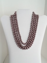 """COOKIE LEE Rose Gold Tone Faux Pearls Single Strand 76"""" Long Necklace EUC image 2"""