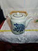 Otagiri Tea Pot Stoneware Bamboo Handle Blue Butterfly & Flowers on Gray Teapot image 3