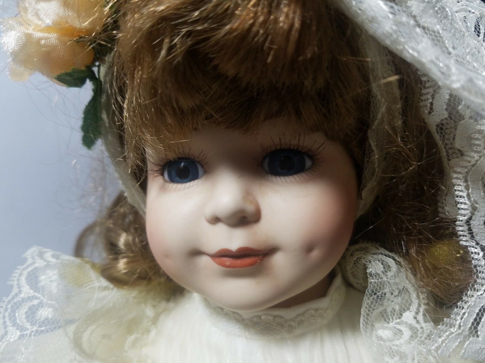 Vintage Porcelain Doll Court of Dolls Brown Curly Hair White Dress Angel