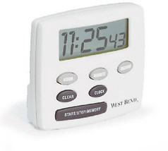 Electronic Timer With Clock, LCD Display, White - $22.76