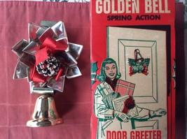 VINTAGE CHRISTMAS 1960s GOLDEN BELL DOOR GREETER SPRING ACTION  IN BOX - $8.60