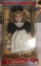 Vintage Porcelain Doll, Victorian Star Collection, Brass Key, New Never ... - $38.61