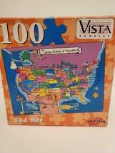 "U.S.A. MAP 100 Piece Vista Puzzles 8.25"" x 11""  United States of America... - $4.99"