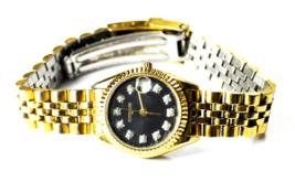 Women's Wittnauer Quartz Black CZ Dial Wristwatch 23mm KW9651 9565 - $19.79