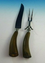 Vintage Wood Handle Roast Carving Knife and Fork (#3056) - $79.00