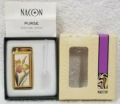 Nacon Vintage PURSE PERFUME SPRAY Orchid Flower Gold Atomizer LeakProof ... - $103.95