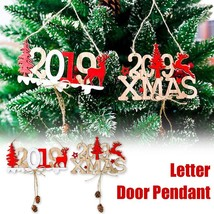 Letter Hanging Card Door Decor Wooden Pendant House Plate 2019 Merry Christmas - $4.99