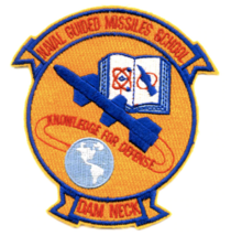 """4.12"""" NAVY GUIDED MISSILES SCHOOL DAM NECK VIRGINIA EMBROIDERED PATCH - $23.74"""