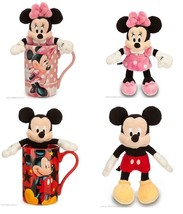 Disney Store Minnie Mouse Mickey Mug and Plush Toy Pink Red New - $76.96