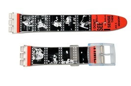 Swatch Replacement 17mm Plastic Watch Band Strap Movie Tape Design - $9.75