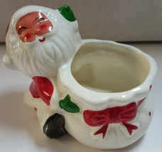 (I) Santa Clause Candy Dish Bowl Statue Figurine Christmas Glass Decoration - $7.91