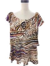 Animal Print Tier Ruffle Blouse Milano Size large L Black Tan Orange - $14.00