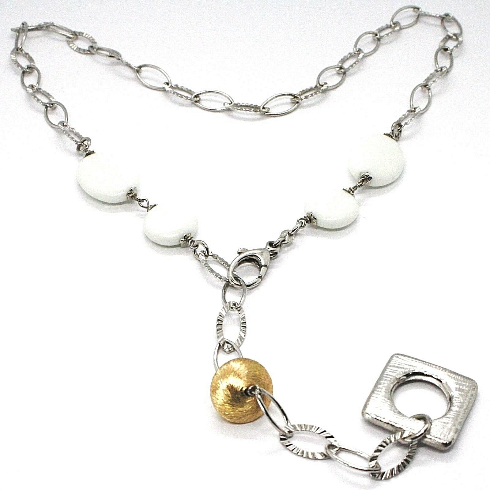 SILVER 925 NECKLACE, AGATE WHITE, SQUARE PENDANT, CHAIN OVALS WORKED