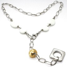 SILVER 925 NECKLACE, AGATE WHITE, SQUARE PENDANT, CHAIN OVALS WORKED - $197.01