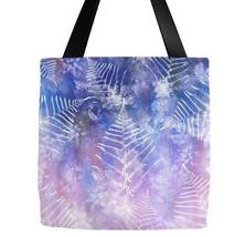 Tote bag All over print Design 57 blue pink purple leaf leaves art L.Dumas - $29.99+