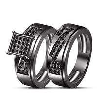 Round Cut Black CZ Engagement Bridal Ring Set 925 Silver 14k Black Gold Finish - $108.65