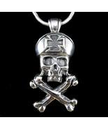 Handcrafted 925 Sterling Silver SKULL & CROSSBONES Iron Cross Pirate Pen... - $49.45