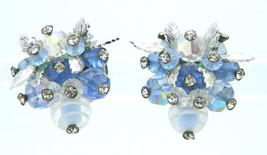 VENDOME Blue Art Glass AB Rhinestone Leaf Earrings Silver Tone Vintage - $74.25