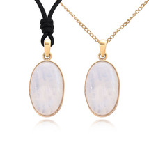 Oval Shape Moonstone Handmade Brass Gemstone Necklace Pendant - $9.89+