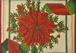 "Set of 4 Tapestry Placemats, 13"" x 19"", WINTER,CHRISTMAS FLOWERS, POINSE... - $17.81"