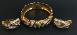 Vintage Unsigned Rhinestone Gold tone Metal Cuff Bracelet & Clip-on Earr... - $15.79