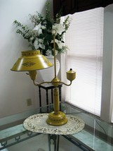 VTG Large Yellow Metal Hand Painted Tole 3-Way Lamp & Milk Glass Diffuse... - €87,95 EUR