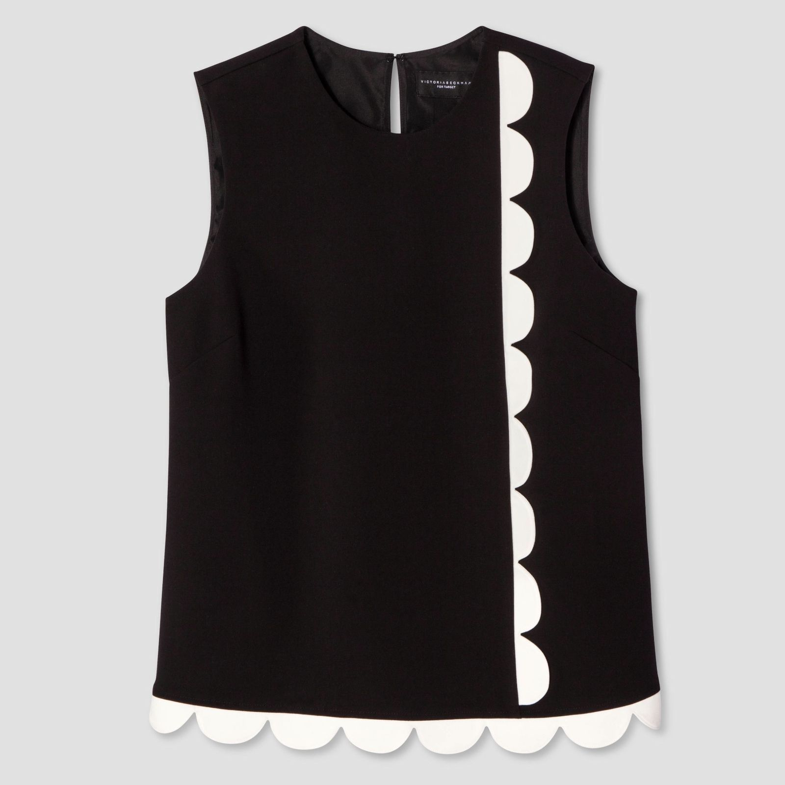 bc1c1db2e0516 NWT Victoria Beckham Women s Black white Twill Tank Top Scallop 1X